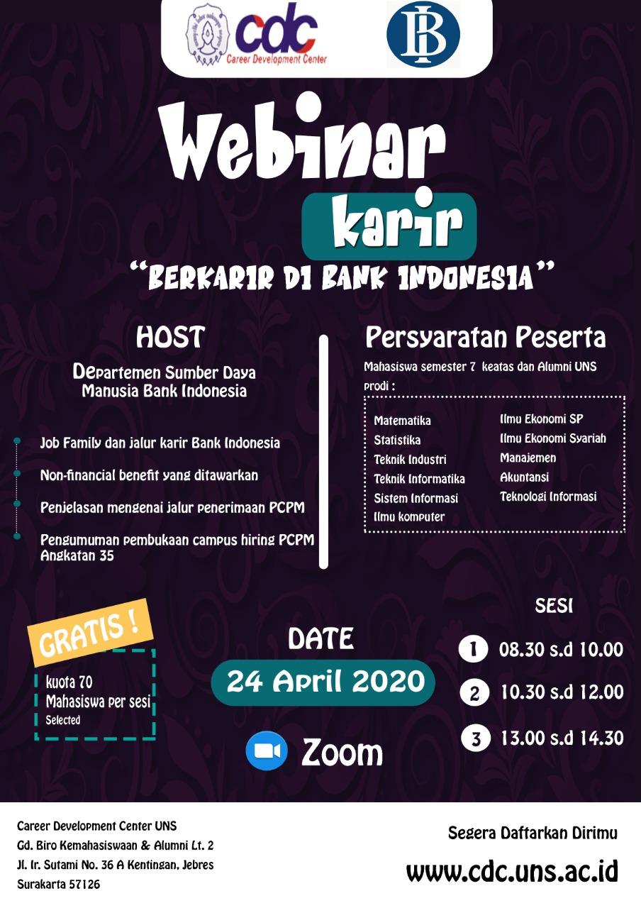 Seminar Virtual (Webinar) Mengenai karir di Bank Indonesia